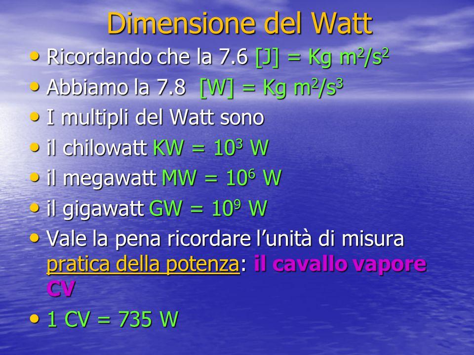 Dimensione del Watt Ricordando che la 7.6 [J] = Kg m2/s2